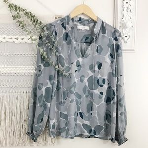 LOFT Blue/Grey Abstract Print Sheer Blouse
